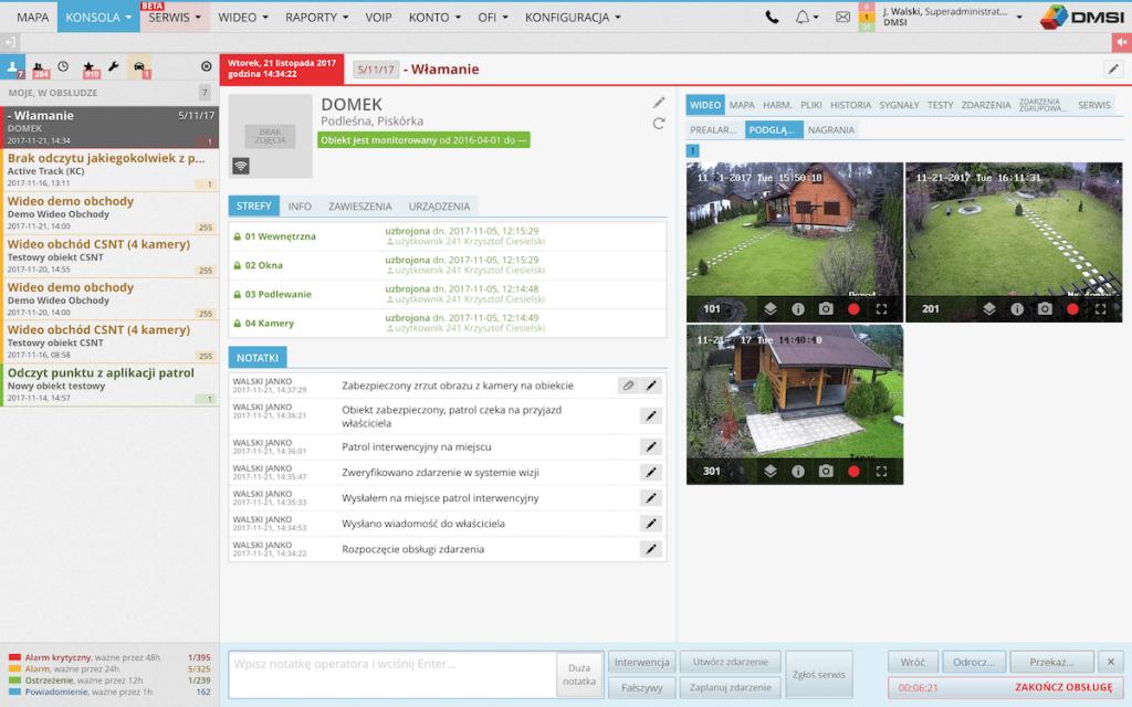 Safestar konsola webowa obsługi alarmów