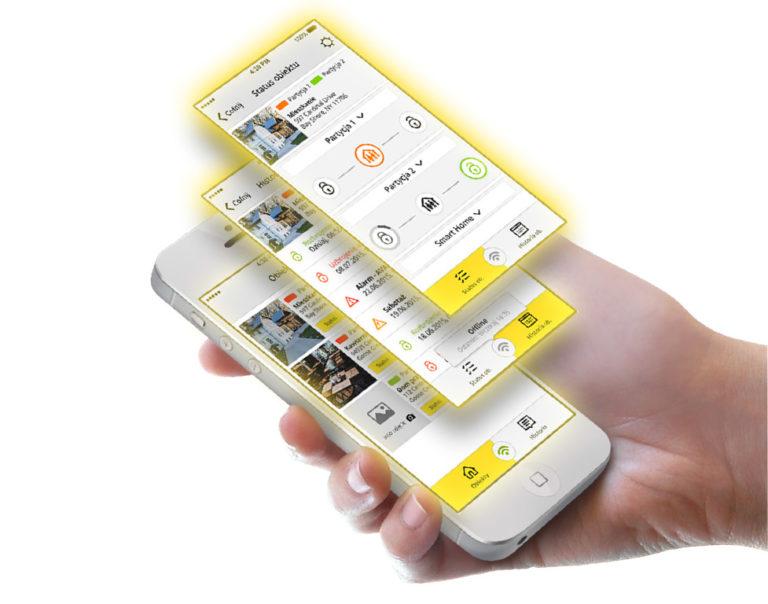 aplikacja mobilna EBS Security ekrany