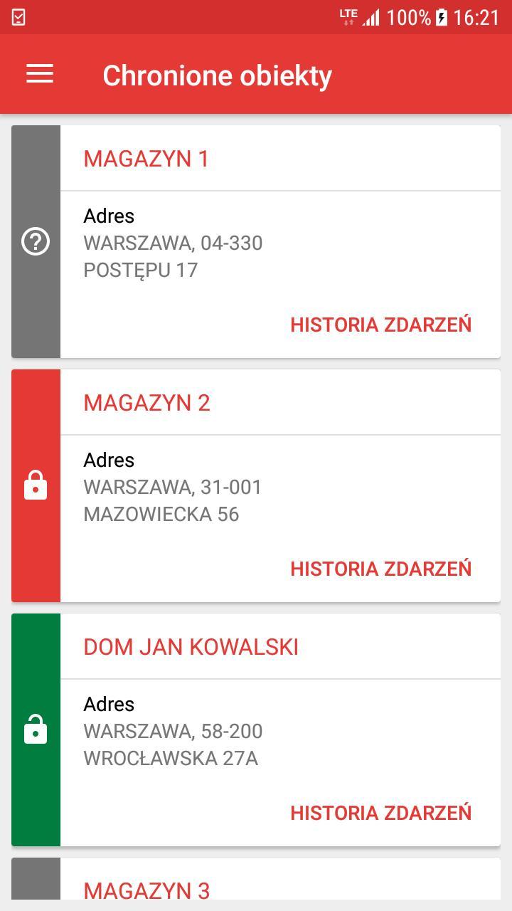 aplikacja mobilna MySolid lista obiektów