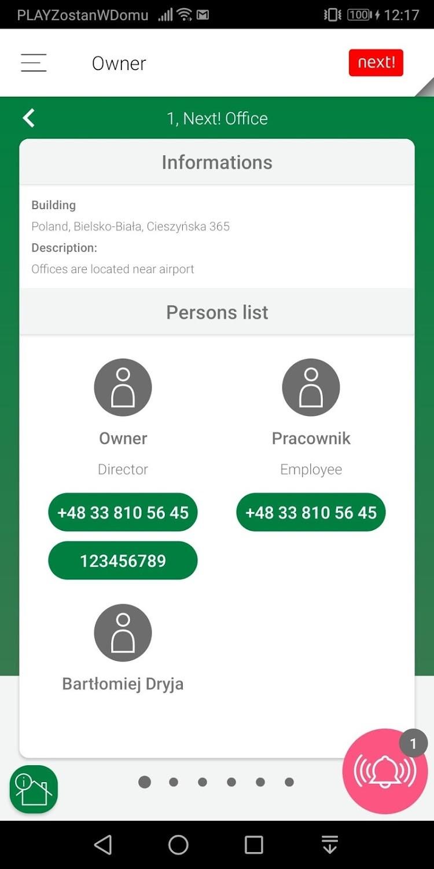 aplikacja mobilna mClient lista kontaktów