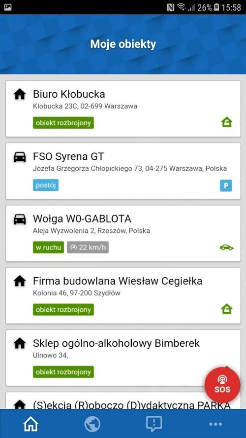 aplikacja mobilna Safestar Go lista obiektów